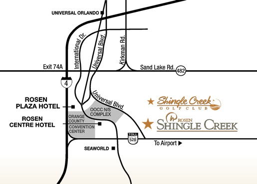 Rosen Shingle Creek Driving Map