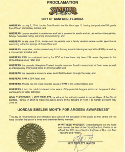 "City of Sanford, Florida Proclamation of May as being the ""Jordan Smelski month for Amoeba Awareness"""